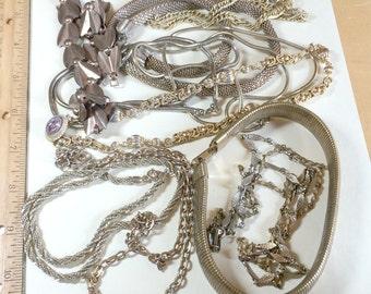Vintage craft lot 10 chain vintage necklaces for upcycling repurposing vintage necklace lot vintage chain lot vintage jewelry lot CH2