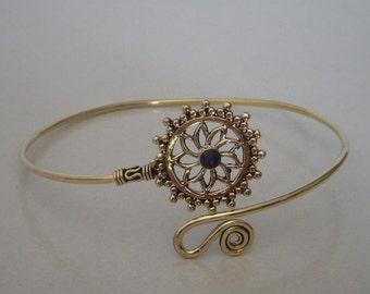 A Brass Arm Band / Upper Arm cuff Brass Armlet / Brass Armlet / Lapis Lazuli Armlet / Tribal Armlet / Gypsy Armlet Armband / One Pecs.