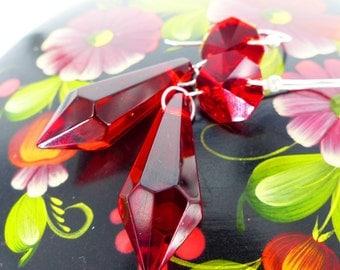 Faceted rich red teardrop gorgeous dangle earrings. Sleek long silver loop earring hardware. Old Hollywood glam