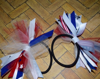 4th of July Hair Bows Pigtails Bows July 4th Pigtails Hair Bow Memorial Hair Bows Patriotic Hair bows Girls Hair Bows Doll and Me Hair Bow