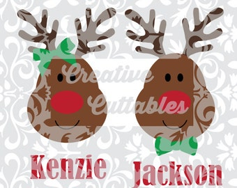Christmas SVG Reindeer Santa Rudolph designs for  Silhouette or other craft cutters (.svg/.dxf/.eps)