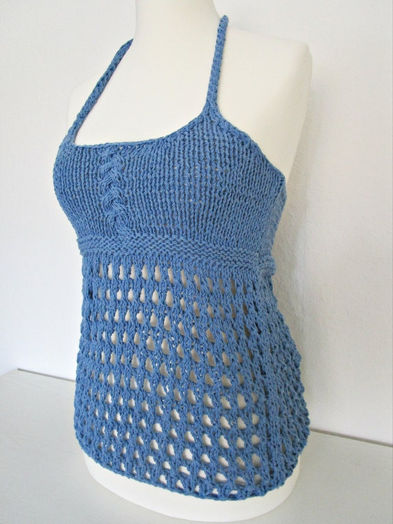 Knitted halter top Knit beach top Crochet by IrinasSTRICKMODE