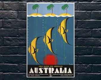 Australia Travel Poster, Australia Great Barrier Reef Queensland Travel Print, Vintage Travel Poster Print, Sticker and Canvas Print