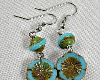 Green Verdigris Turquoise Dangle Earrings