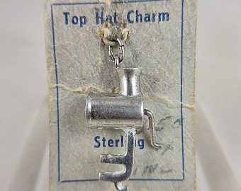 Sterling Silver Mechanical Meat Grinder Charm