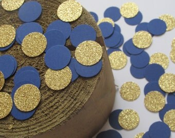 Glitter Gold and Royal Blue Confetti, Baby Boy Shower Table Scatter,  Blue and Gold Dots Confetti, Prince Party Decoration