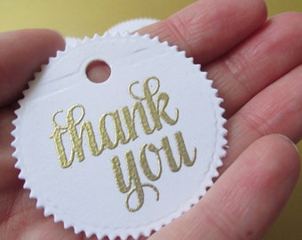 25 baby shower thank you tags, white and gold circle tags, favor tags, wedding tags, bridal tags, party favor tags, baptism favor tags