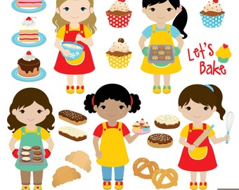 Baking Girls Digital Clipart