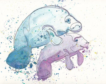 Manatee Mommy and Baby PRINT