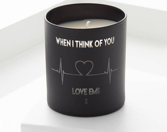 Heartbeat Personalised Candle. Heartbeat Personalized Candle. Black Candle. White Candle.Pastel Candle. Valentines Day. Sweet Pea scent.