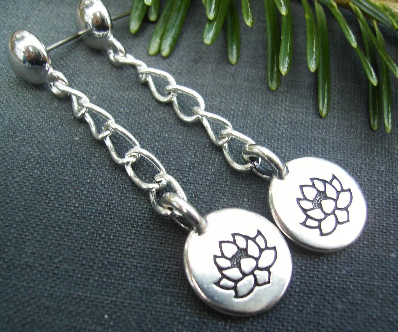 lotus flower earrings silver lotus charms silver chain