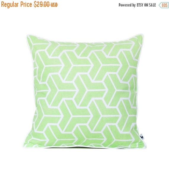 Modern Green Pillow Cover : Modern geometric pillow cover Lime green accent throw by HuesShop