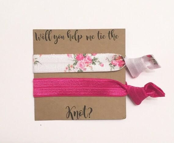 Bridesmaid hair tie favors//white rose & dark pink//hair tie card, elastic hair ties, hair tie favor, party favor, bridesmaid gift, wedding