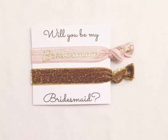 Bridesmaid hair tie favor//will you be my bridesmaid tea rose & thick gold//party favors//bridesmaid gift//elastic hair ties