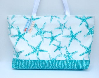 Turquoise Beach Bag, Starfish Beach Bag,  Zippered Beach Tote, Water Resistant Bag, Pool Tote, Sports Bag, White & Turquoise Bag
