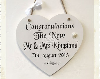 Personalised Wooden Wedding Heart Plaque Keepsake Sign W9