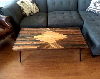 Navajo Aztec Native Boho Southwestern Mid-Century Coffee Table