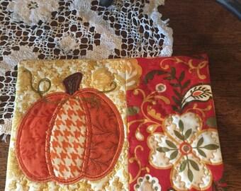 Pumpkin Mug Rug, Teacher Gift, Fall Gift, Hostess Gift, Large Coaster, Thank You Gift