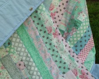 Springtime Pastels Garden Lap Quilt - handmade