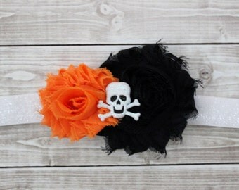 Halloween baby headband, black and orange headband, skull baby headband, baby bow, shabby chic halloween headband