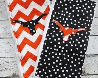 Texas Longhorns inspired baby burp cloth set, burnt orange UT baby shower gift set