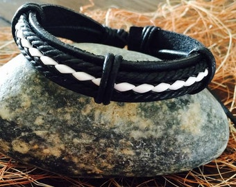 Black & white abstract  leather bracelet