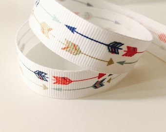 Gold and Navy Colorful Arrow Fabric Ribbon, Grosgrain 5/8 Inch, Metallic Pattern, Ideal for Baby, Scrapbooking, and Nursery Crafts