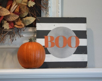 BOO Halloween Wood Sign