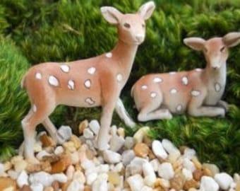 Fairy Garden Deer Fawn Set of 2 Statue Miniature