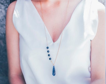 Necklace with Vintage BLue Lapis Teardrop