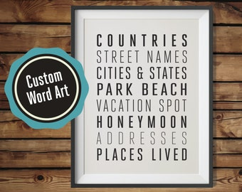 PERSONALIZED Subway Sign, Bus Scroll, Travel Poster, Typography Word Art. UNIQUE gifts for any occasion! 16x20. Available in Black and White
