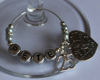 Silver wedding anniversary gift - wine glass charms - personalised - 25 years