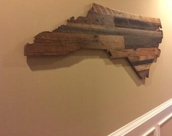 Large Rustic Barnwood Wooden States