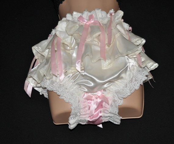Satin frilled panties with lace and feminine appeal, soft silky satin fun, Sissy Lingerie
