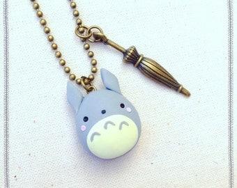 Miyazaki Ghibli Totoro necklace Polymer Clay Fimo Necklace ~ Kawaii Cute tonarinototoro My Neighbor Totoro Vintage Handmade Bronze Umbrella