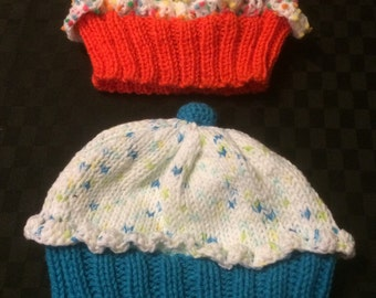 Hand Knitted Cupcake Beanie/Hat for Babies, Toddlers up to Adults