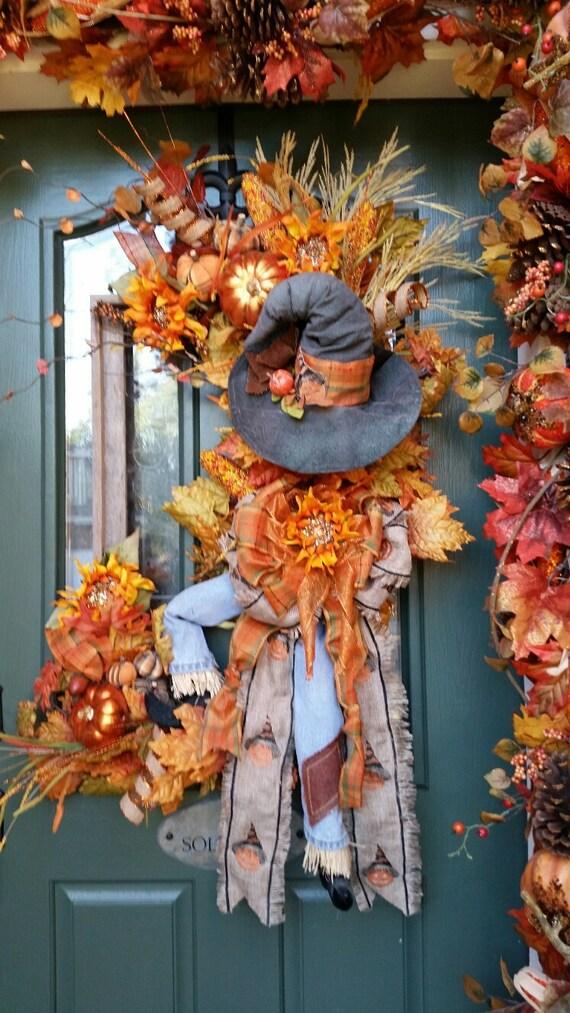 Fall Wreath Halloween Wreath Fall Amp Halloween Scarecrow