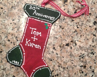 Personalized stocking anniversary ornament