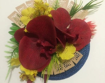 Rockabilly Pin up Hawaiian  orchid wooden fan Fascinator