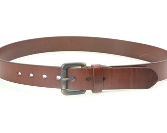 Men's Crusty Leather Belt with Brass Buckle Size 38 Vintage Black brown leather belt Men retro accessory