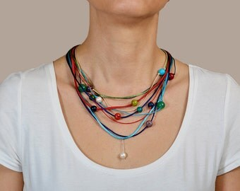 Multi color acai necklace, acai jewelry, colored pearl necklace, beaded necklace, statement necklace, women gift under 25, eco jewelry