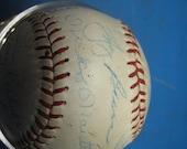 1950s New York Yankees team signed baseball Yogi Berra Whitey Ford Mantle JSA