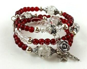 Wild Gypsy Rose Memory Wire Bracelet, bracelets, beaded bracelets, memory wire bracelets, beaded jewelry