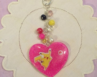 FLAWED Cute Kawaii Pikachu Pokemon Heart Resin Keychain Bag Charm