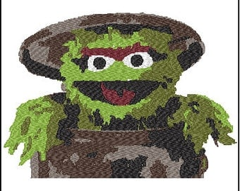Oscar The Grouch Sesame Street Embroidery Design