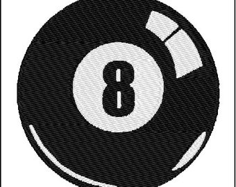 Eight 8 Ball Billiards Pool Embroidery Design