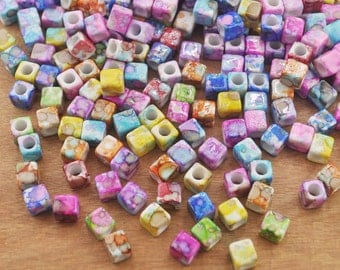 200pcs Multicolor cube Beads, Mixed Assorted Beads,7mm Cube Beads,Acrylic Beads-Plastic Beads With 4mm Diameter Hole