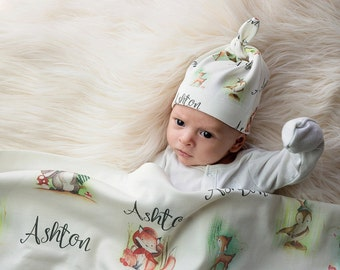 Personalized  Fairytale Forest Baby Blanket-Baby Swaddle-Swaddle Blanket-Handmade-Newborn Photo Prop-Baby Gift-Baby Shower Gift-New Mom Gift