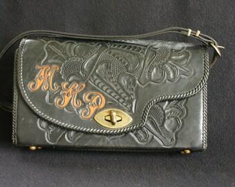 Vintage Black Hand Tooled Purse Bag