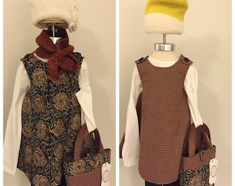 BELLISSIMA dress- Retro REVERSIBLE toddler pinafore- 12-24 months